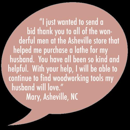 Klingspors Woodworking Shop testimonial Asheville store lathe woodworking tools